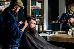 Hipster client getting haircut. Barber with hair clipper works on hairstyle for man with beard, barbershop background. Hipster client getting haircut. Barber royalty free stock photography