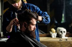 Hipster client getting haircut. Barber styling hair of brutal bearded client with clipper. Haircut concept. Barber with. Hair clipper works on hairstyle for men stock image