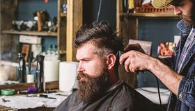 Hipster client getting haircut. Haircut concept. Barber styling hair of bearded client with comb and clipper. Barber. With hair clipper works on hairstyle for royalty free stock photography