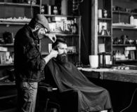 Hipster client getting haircut. Haircut concept. Barber with hair clipper works on hairstyle for man with beard. Hipster client getting haircut. Haircut concept stock photo