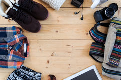 Hipster clothes and accessories Stock Images