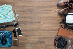 Hipster clothes and accessories on a wooden background Stock Photo