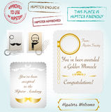 Hipster collection stamps diploma certificate badge Royalty Free Stock Images
