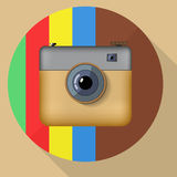 Hipster colorful realistic photo camera icon with Royalty Free Stock Photography