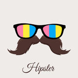 Hipster Colourful Sun Glasses and Mustache / Moustache. Royalty Free Stock Photography