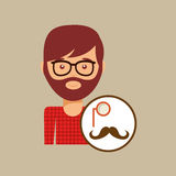 Hipster concept mustache and monocle man Royalty Free Stock Photos