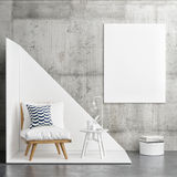 Hipster corner with white poster, interior concept Royalty Free Stock Images