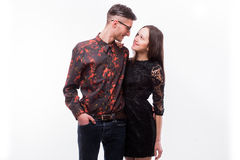 Hipster couple. Beautiful young loving couple posing Stock Photos