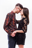 Hipster couple. Beautiful young loving couple posing while standing Royalty Free Stock Photography