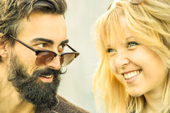 Hipster couple at the beginning of love story - Happy friendship stock images