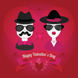 Hipster couple with hat and sunglasses Stock Photography