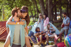 Hipster couple having fun on campsite Stock Image