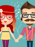 Hipster couple listening to music Stock Photo