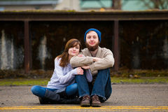 Hipster Couple Looking Happy Royalty Free Stock Photos