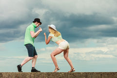 Hipster couple in love playing fighting outdoor Stock Photo