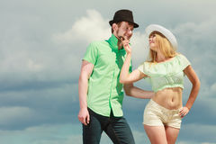 Hipster couple in love playing flirting outdoor Stock Images