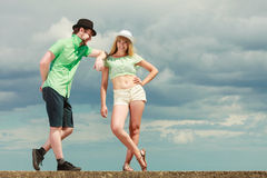 Hipster couple in love playing flirting outdoor Stock Photography