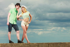 Hipster couple in love playing flirting outdoor Royalty Free Stock Image