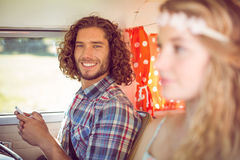 Hipster couple on road trip Royalty Free Stock Images