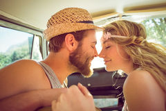 Hipster couple on road trip royalty free stock photos