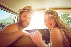 Hipster couple on road trip. On a summers day royalty free stock photos
