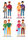 Hipster Couples Concept. Of young trendy people with gestures in stylish colorful clothes isolated vector illustration Royalty Free Stock Photos