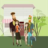 Hipster couples walking. Vector cartoon people characters. Hipster style bearded men with girlfriends.  Royalty Free Stock Photography