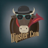 Hipster cow Royalty Free Stock Photography
