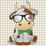 Hipster Cow Stock Image