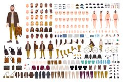Hipster creation kit. Set of flat male cartoon character body parts, skin types, facial gestures, hairstyles, trendy. Clothing, stylish accessories isolated on Vector Illustration