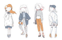 Hipster cute girls in casual clothes, hand drawn, isolated on white background. Vector set with color fashion women in different p. Hipster cute girls in casual vector illustration
