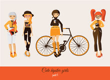 Hipster cute girls isolated on background. Vector fashion illustration set with various accessories, hairstyle, with smiling faces Royalty Free Stock Image