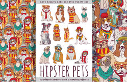 Hipster cute pets cats and dogs set. Stock Photo