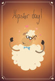 Hipster day. Cuty sheep with little hearts on gradient background in decorative frame. EPS. 10.0. RGB. Illustration can be used as template for event greeting Royalty Free Stock Photo