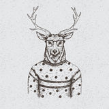 Hipster deer dressed in the blouse. Handmade work.Typography design for t-shirts Stock Photography