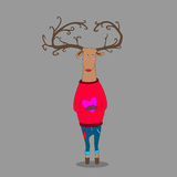 Hipster deer on grey backgroung holding heart. Wearing pullover Royalty Free Stock Photo