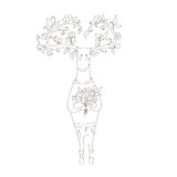 Hipster deer in love. vector illustration. Hipster deer in love with flowers. coloring picture Stock Photos