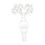 Hipster deer in love. vector illustration. Hipster deer in love with heart. coloring picture Stock Image