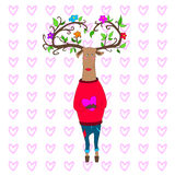 Hipster deer in love. vector valentine s day. Hipster deer in love holding heart valentine s day Vector Illustration