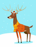 Hipster deer. Seasons greeting card with hipster animal. Flat design illustration in vector. Winter animal concept. For print, postcard, web, social media and t Royalty Free Stock Photos