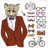Hipster deer in suit hand drawn, Stock Image