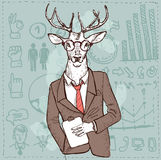 Hipster deer in suit hand drawn, Stock Photo