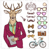 Hipster deer in suit hand drawn, Royalty Free Stock Images