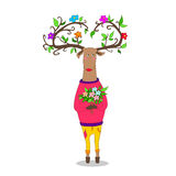 Hipster deer witj flowers. Hipster deer in love holding flowers valentine s day Stock Photo