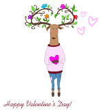 Hipster deers falling in love. valentine s day. Hipster deer in love witj heart and leaves. valentine s day Stock Photography