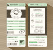 Hipster design Boarding Pass Ticket Event Invitation Royalty Free Stock Images