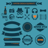 Hipster design elements set on blue dotted background stock illustration