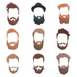 Hipster detailed hair and beards set. Fashion bearded man. Long beard with facial. Vector isolated on white background vector illustration