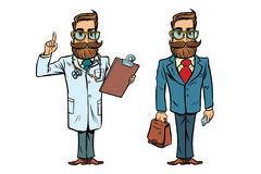 Hipster doctor and businessman Royalty Free Stock Image