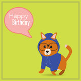 The hipster dog with happy birthday word Stock Images